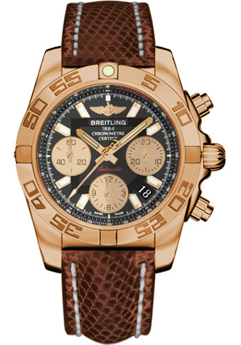 Breitling Watches - Chronomat 41 Rose Gold Polished Bezel - Lizard Strap - Deployant - Style No: HB014012/BA53-lizard-brown-deployant