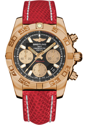 Breitling Watches - Chronomat 41 Rose Gold Polished Bezel - Lizard Strap - Tang - Style No: HB014012/BA53-lizard-red-tang