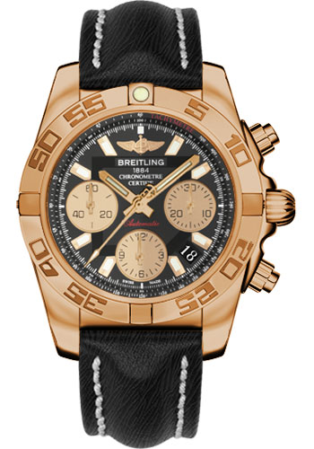 Breitling Watches - Chronomat 41 Rose Gold Polished Bezel - Sahara Leather Strap - Style No: HB014012/BA53-sahara-black-tang