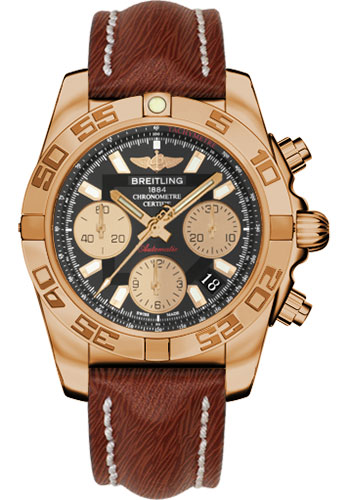 Breitling Watches - Chronomat 41 Rose Gold Polished Bezel - Sahara Leather Strap - Style No: HB014012/BA53-sahara-brown-tang