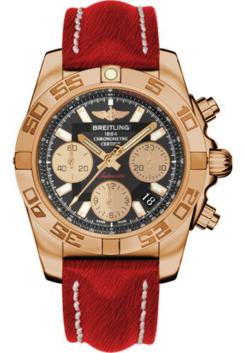 Breitling Watches - Chronomat 41 Rose Gold Polished Bezel - Sahara Leather Strap - Style No: HB014012/BA53-sahara-red-tang