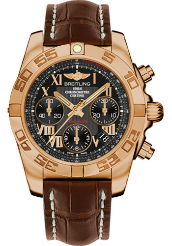 Breitling Watches - Chronomat 41 Rose Gold Polished Bezel - Croco Strap - Tang - Style No: HB014012/BC08-croco-brown-tang