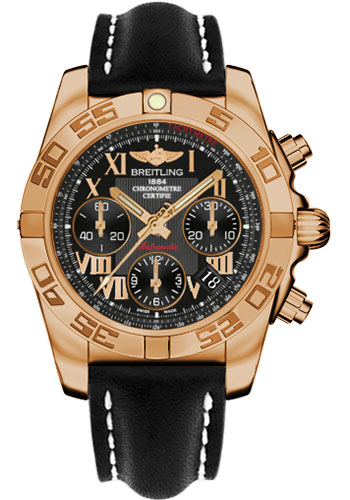 Breitling Watches - Chronomat 41 Rose Gold Polished Bezel - Leather Strap - Tang - Style No: HB014012/BC08-leather-black-tang