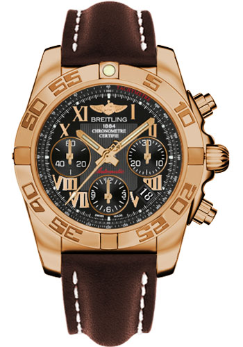 Breitling Watches - Chronomat 41 Rose Gold Polished Bezel - Leather Strap - Deployant - Style No: HB014012/BC08-leather-brown-deployant
