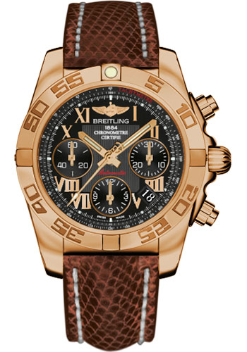 Breitling Watches - Chronomat 41 Rose Gold Polished Bezel - Lizard Strap - Deployant - Style No: HB014012/BC08-lizard-brown-deployant