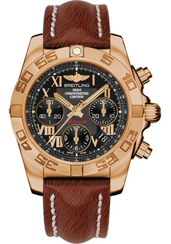 Breitling Watches - Chronomat 41 Rose Gold Polished Bezel - Sahara Leather Strap - Style No: HB014012/BC08-sahara-brown-tang