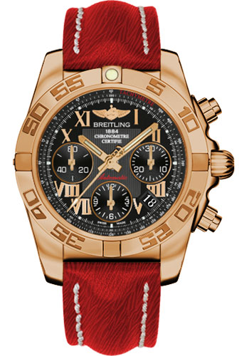 Breitling Watches - Chronomat 41 Rose Gold Polished Bezel - Sahara Leather Strap - Style No: HB014012/BC08-sahara-red-tang