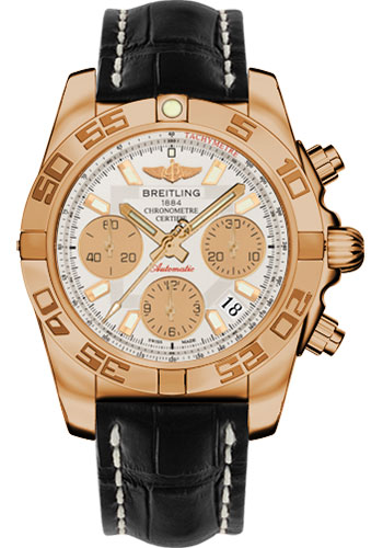 Breitling Watches - Chronomat 41 Rose Gold Polished Bezel - Croco Strap - Tang - Style No: HB014012/G713-croco-black-tang