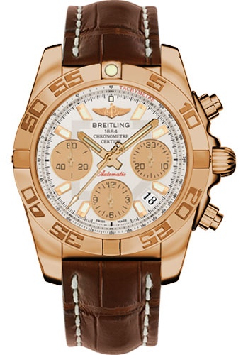 Breitling Watches - Chronomat 41 Rose Gold Polished Bezel - Croco Strap - Tang - Style No: HB014012/G713-croco-brown-tang