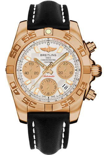 Breitling Watches - Chronomat 41 Rose Gold Polished Bezel - Leather Strap - Tang - Style No: HB014012/G713-leather-black-tang