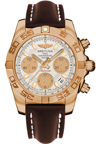 Breitling Watches - Chronomat 41 Rose Gold Polished Bezel - Leather Strap - Deployant - Style No: HB014012/G713-leather-brown-deployant