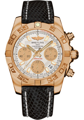 Breitling Watches - Chronomat 41 Rose Gold Polished Bezel - Lizard Strap - Tang - Style No: HB014012/G713-lizard-black-tang