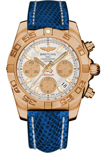 Breitling Watches - Chronomat 41 Rose Gold Polished Bezel - Lizard Strap - Deployant - Style No: HB014012/G713-lizard-blue-marine-deployant