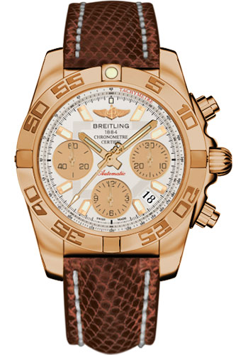 Breitling Watches - Chronomat 41 Rose Gold Polished Bezel - Lizard Strap - Deployant - Style No: HB014012/G713-lizard-brown-deployant