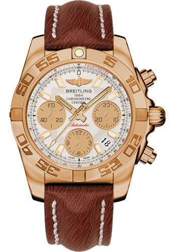Breitling Watches - Chronomat 41 Rose Gold Polished Bezel - Sahara Leather Strap - Style No: HB014012/G713-sahara-brown-tang