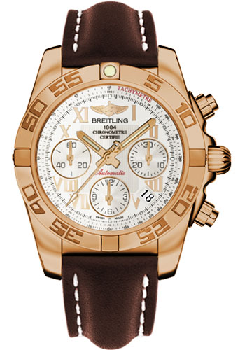 Breitling Watches - Chronomat 41 Rose Gold Polished Bezel - Leather Strap - Tang - Style No: HB014012/G759-leather-brown-tang