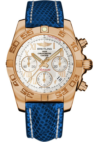 Breitling Watches - Chronomat 41 Rose Gold Polished Bezel - Lizard Strap - Deployant - Style No: HB014012/G759-lizard-blue-marine-deployant
