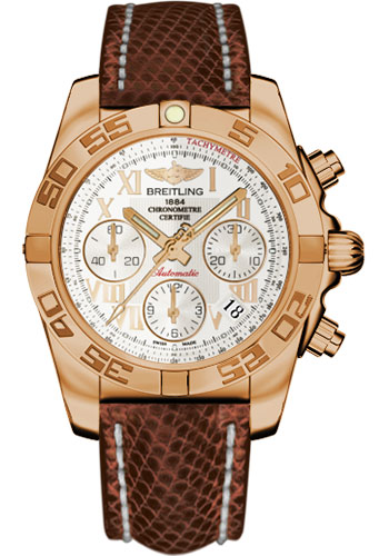 Breitling Watches - Chronomat 41 Rose Gold Polished Bezel - Lizard Strap - Tang - Style No: HB014012/G759-lizard-brown-tang