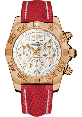 Breitling Watches - Chronomat 41 Rose Gold Polished Bezel - Lizard Strap - Deployant - Style No: HB014012/G759-lizard-red-deployant