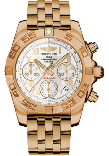 Breitling Watches - Chronomat 41 Rose Gold Polished Bezel - Pilot Bracelet - Style No: HB014012/G759-pilot-rose-gold