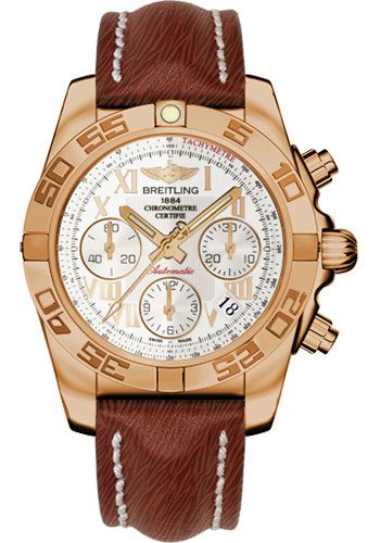 Breitling Watches - Chronomat 41 Rose Gold Polished Bezel - Sahara Leather Strap - Style No: HB014012/G759-sahara-brown-tang