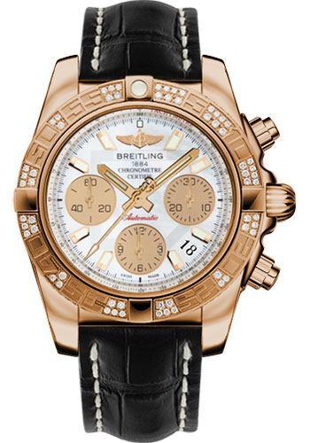 Breitling Watches - Chronomat 41 Rose Gold Diamond Bezel - Croco Strap - Deployant - Style No: HB0140AA/A722-croco-black-deployant