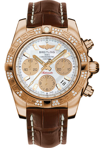 Breitling Watches - Chronomat 41 Rose Gold Diamond Bezel - Croco Strap - Tang - Style No: HB0140AA/A722-croco-brown-tang