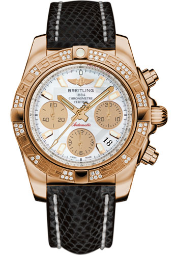 Breitling Watches - Chronomat 41 Rose Gold Diamond Bezel - Lizard Strap - Tang - Style No: HB0140AA/A722-lizard-black-tang