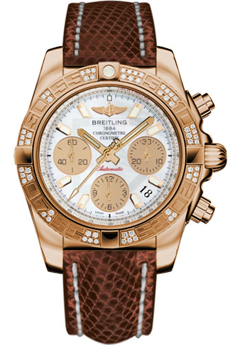 Breitling Watches - Chronomat 41 Rose Gold Diamond Bezel - Lizard Strap - Tang - Style No: HB0140AA/A722-lizard-brown-tang