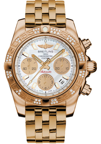 Breitling Watches - Chronomat 41 Rose Gold Diamond Bezel - Pilot Bracelet - Style No: HB0140AA/A722-pilot-rose-gold