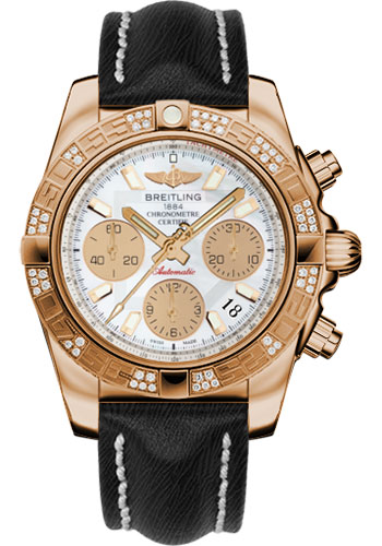Breitling Watches - Chronomat 41 Rose Gold Diamond Bezel - Sahara Leather Strap - Style No: HB0140AA/A722-sahara-black-tang