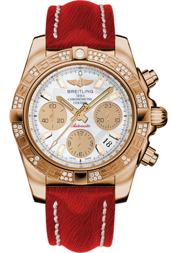 Breitling Watches - Chronomat 41 Rose Gold Diamond Bezel - Sahara Leather Strap - Style No: HB0140AA/A722-sahara-red-tang