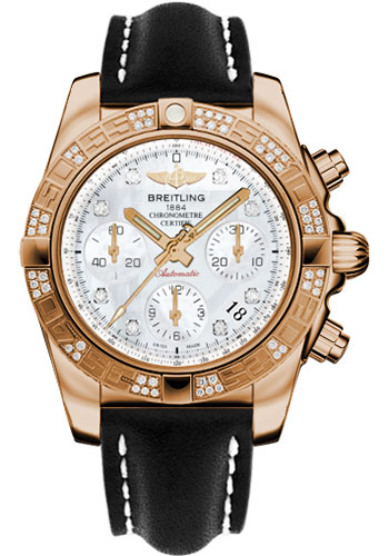 Breitling Watches - Chronomat 41 Rose Gold Diamond Bezel - Leather Strap - Deployant - Style No: HB0140AA/A723-leather-black-deployant