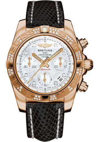 Breitling Watches - Chronomat 41 Rose Gold Diamond Bezel - Lizard Strap - Tang - Style No: HB0140AA/A723-lizard-black-tang