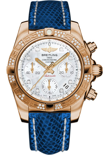 Breitling Watches - Chronomat 41 Rose Gold Diamond Bezel - Lizard Strap - Deployant - Style No: HB0140AA/A723-lizard-blue-marine-deployant