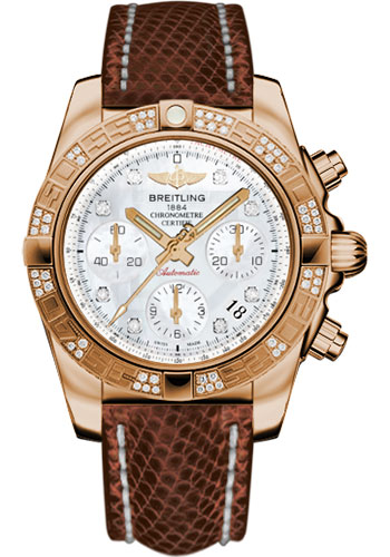 Breitling Watches - Chronomat 41 Rose Gold Diamond Bezel - Lizard Strap - Deployant - Style No: HB0140AA/A723-lizard-brown-deployant