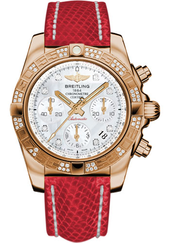 Breitling Watches - Chronomat 41 Rose Gold Diamond Bezel - Lizard Strap - Deployant - Style No: HB0140AA/A723-lizard-red-deployant
