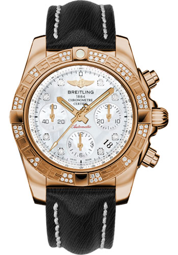 Breitling Watches - Chronomat 41 Rose Gold Diamond Bezel - Sahara Leather Strap - Style No: HB0140AA/A723-sahara-black-tang