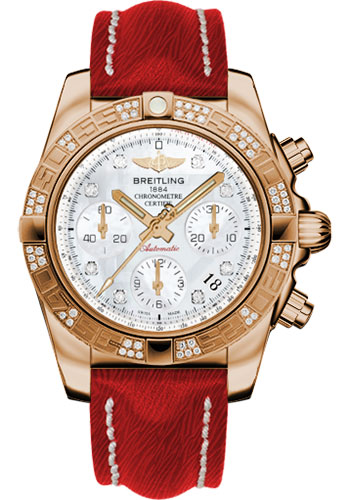 Breitling Watches - Chronomat 41 Rose Gold Diamond Bezel - Sahara Leather Strap - Style No: HB0140AA/A723-sahara-red-tang