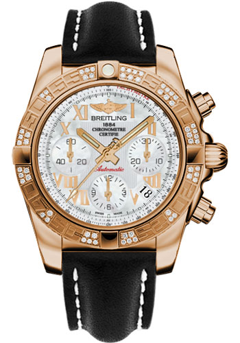 Breitling Watches - Chronomat 41 Rose Gold Diamond Bezel - Leather Strap - Deployant - Style No: HB0140AA/A748-leather-black-deployant