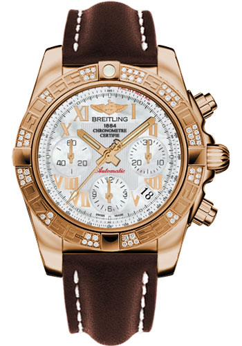 Breitling Watches - Chronomat 41 Rose Gold Diamond Bezel - Leather Strap - Tang - Style No: HB0140AA/A748-leather-brown-tang
