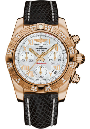 Breitling Watches - Chronomat 41 Rose Gold Diamond Bezel - Lizard Strap - Deployant - Style No: HB0140AA/A748-lizard-black-deployant