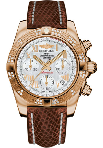 Breitling Watches - Chronomat 41 Rose Gold Diamond Bezel - Lizard Strap - Tang - Style No: HB0140AA/A748-lizard-brown-tang