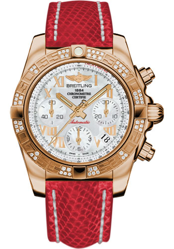 Breitling Watches - Chronomat 41 Rose Gold Diamond Bezel - Lizard Strap - Tang - Style No: HB0140AA/A748-lizard-red-tang