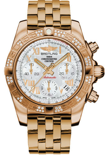 Breitling Watches - Chronomat 41 Rose Gold Diamond Bezel - Pilot Bracelet - Style No: HB0140AA/A748-pilot-rose-gold
