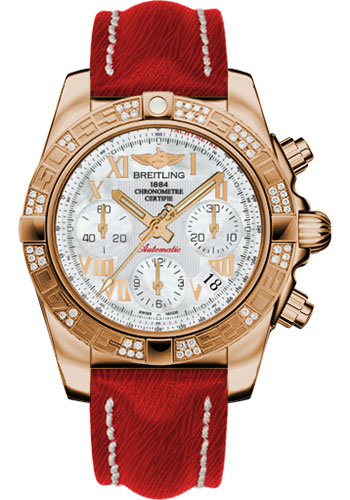Breitling Watches - Chronomat 41 Rose Gold Diamond Bezel - Sahara Leather Strap - Style No: HB0140AA/A748-sahara-red-tang