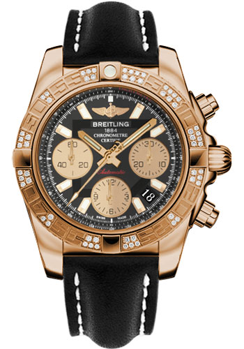 Breitling Watches - Chronomat 41 Rose Gold Diamond Bezel - Leather Strap - Tang - Style No: HB0140AA/BA53-leather-black-tang