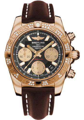 Breitling Watches - Chronomat 41 Rose Gold Diamond Bezel - Leather Strap - Tang - Style No: HB0140AA/BA53-leather-brown-tang