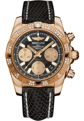 Breitling Watches - Chronomat 41 Rose Gold Diamond Bezel - Lizard Strap - Deployant - Style No: HB0140AA/BA53-lizard-black-deployant