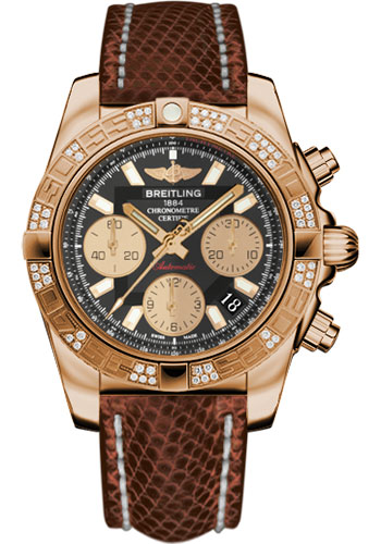 Breitling Watches - Chronomat 41 Rose Gold Diamond Bezel - Lizard Strap - Tang - Style No: HB0140AA/BA53-lizard-brown-tang